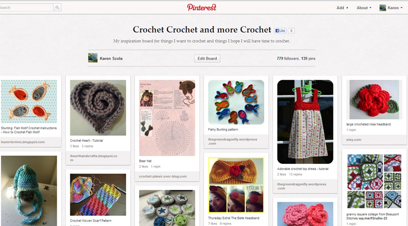 A glimpse at my crochet Pinterest Board